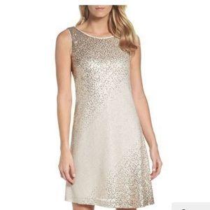 Eliza J Gold Sequins Embellished Shift Dress
